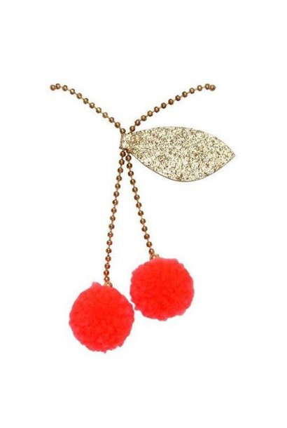 Cherry Pompom Necklace