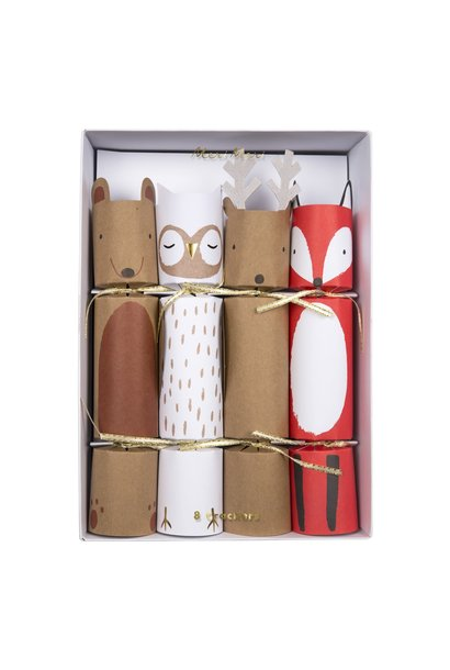 8 Party Crackers Woodland Creatures