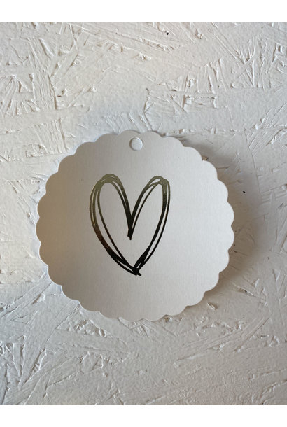Gift Tag - Heart White