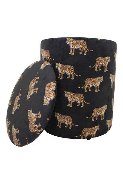 Velvet Storage Pouf Leopard