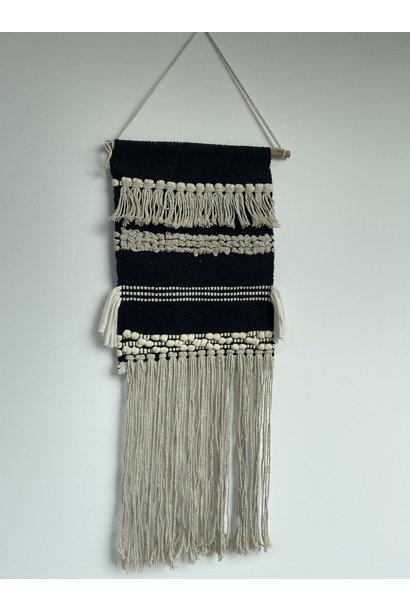 Geweven Wandkleed Ecru & Zwart