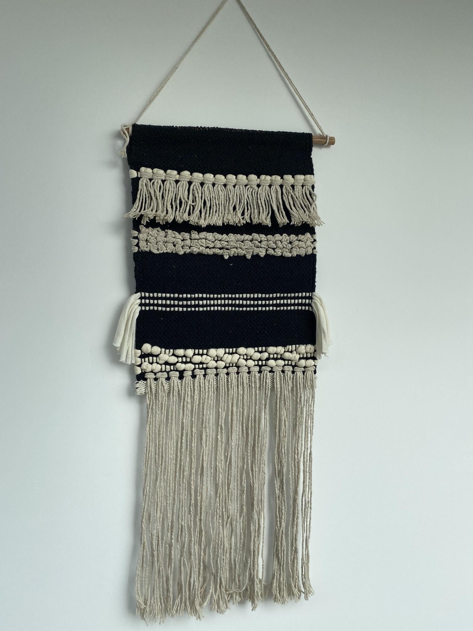Geweven Wandkleed Ecru & Zwart-1