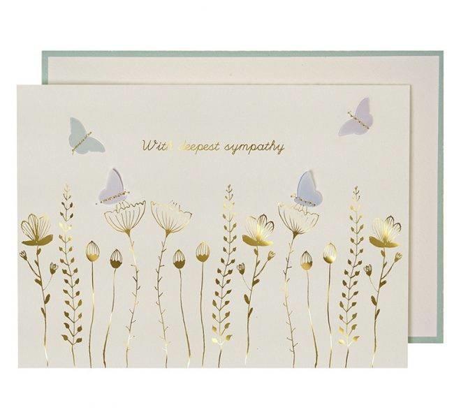 Wenskaart - Sympathy Flowers & Butterflies-1