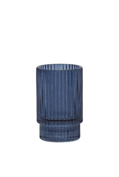 Theelichthouder Philon Glas Blauw - Small