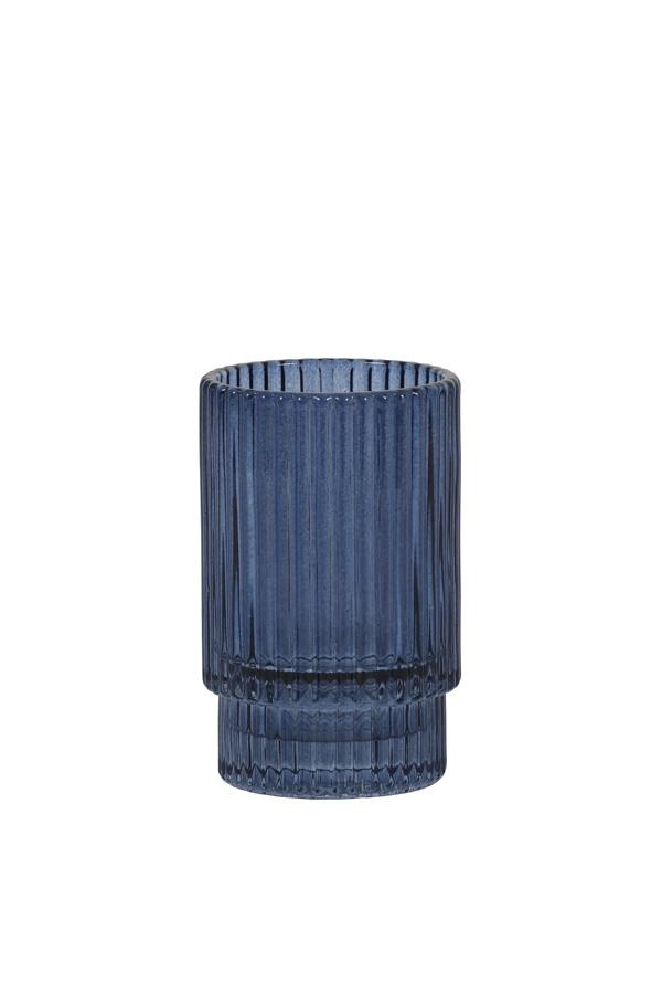Theelichthouder Philon Glas Blauw - Small-1