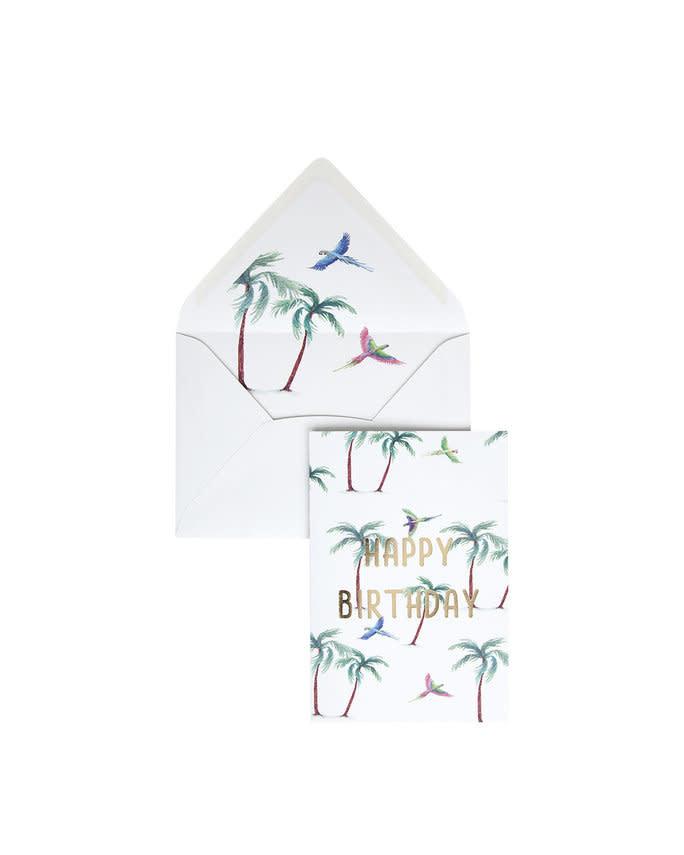 Wenskaart Parrot Palm - Happy Birthday-1