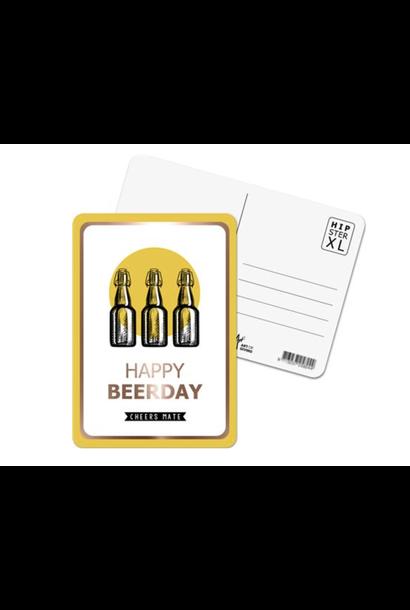 Wenskaart 'Happy Beerday'