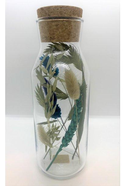 Bloemengeluk in Flesje Turquoise