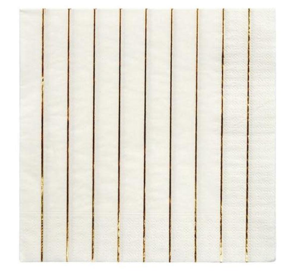 Servetten Wit & Gouden Streep - Large-1