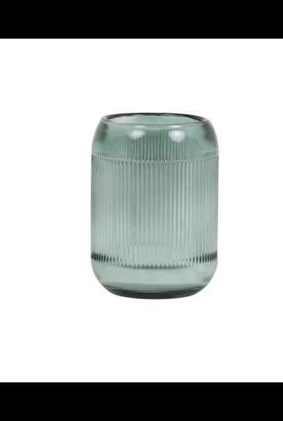 Theelichthouder Pepper Glass Grijsgroen L