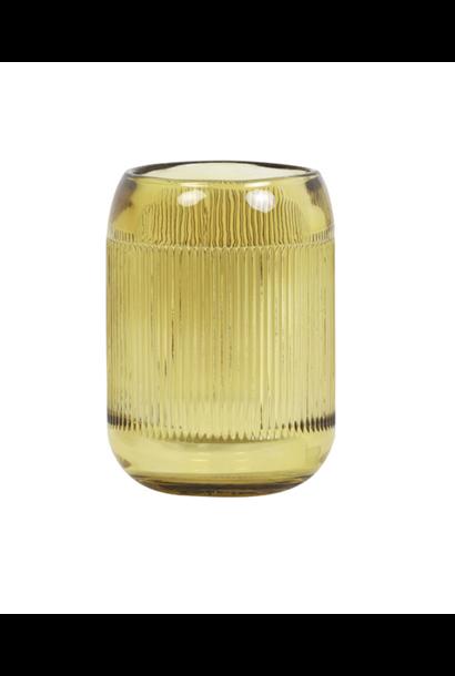 Theelichthouder Pepper Glass Okergeel L