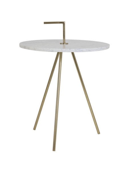 Round Side table Marble - White / Gold M