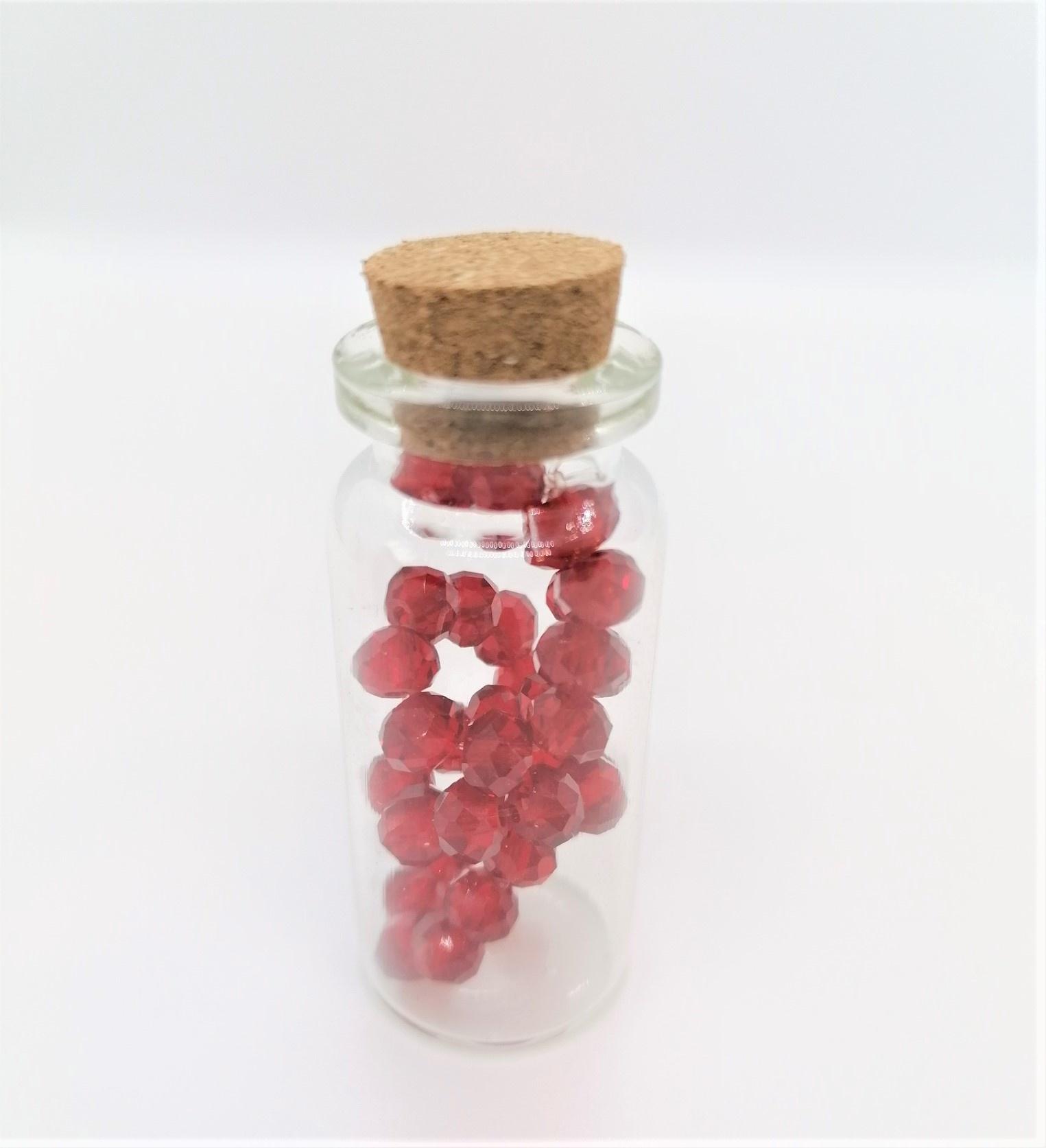 Armbandje in flesje Rood Grote Kralen-1