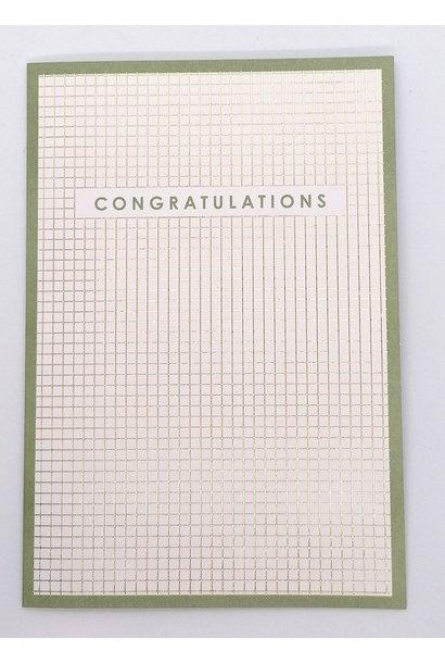 Wenskaart 'Congratulations' - Ruitjes