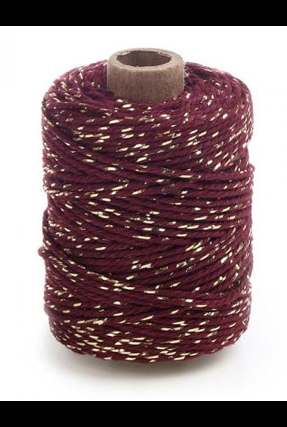 Rolletje touw bordeaux met goud