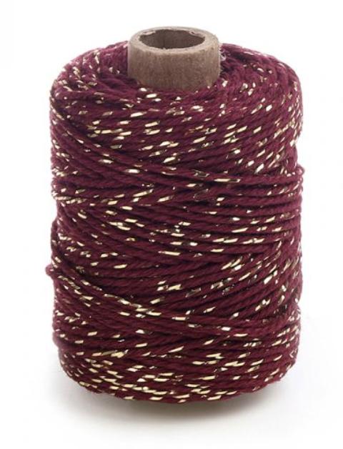 Rolletje touw bordeaux met goud-1