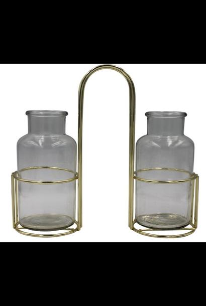 -Vases In Metal Holder - Gold