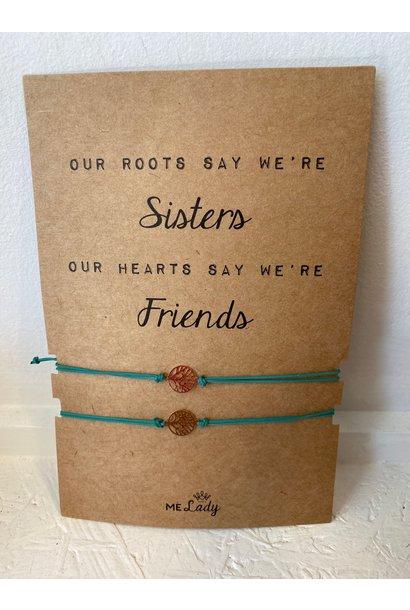 Vriendschapsbandje Levensboom - Appelblauwzeegroen