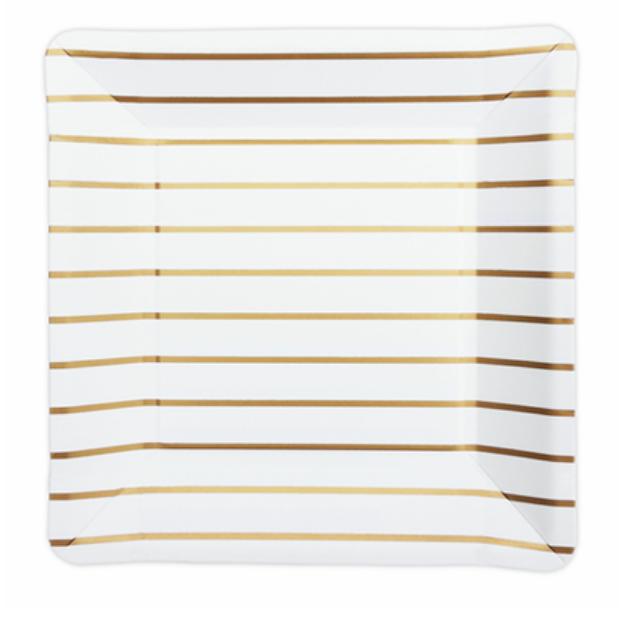 Goud gestreepte borden-1