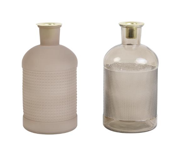 Fles / Kandelaar Elisa Transparant Glas Oudroze-2