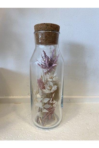 Bloemengeluk In Flesje Naturel met roze - Large
