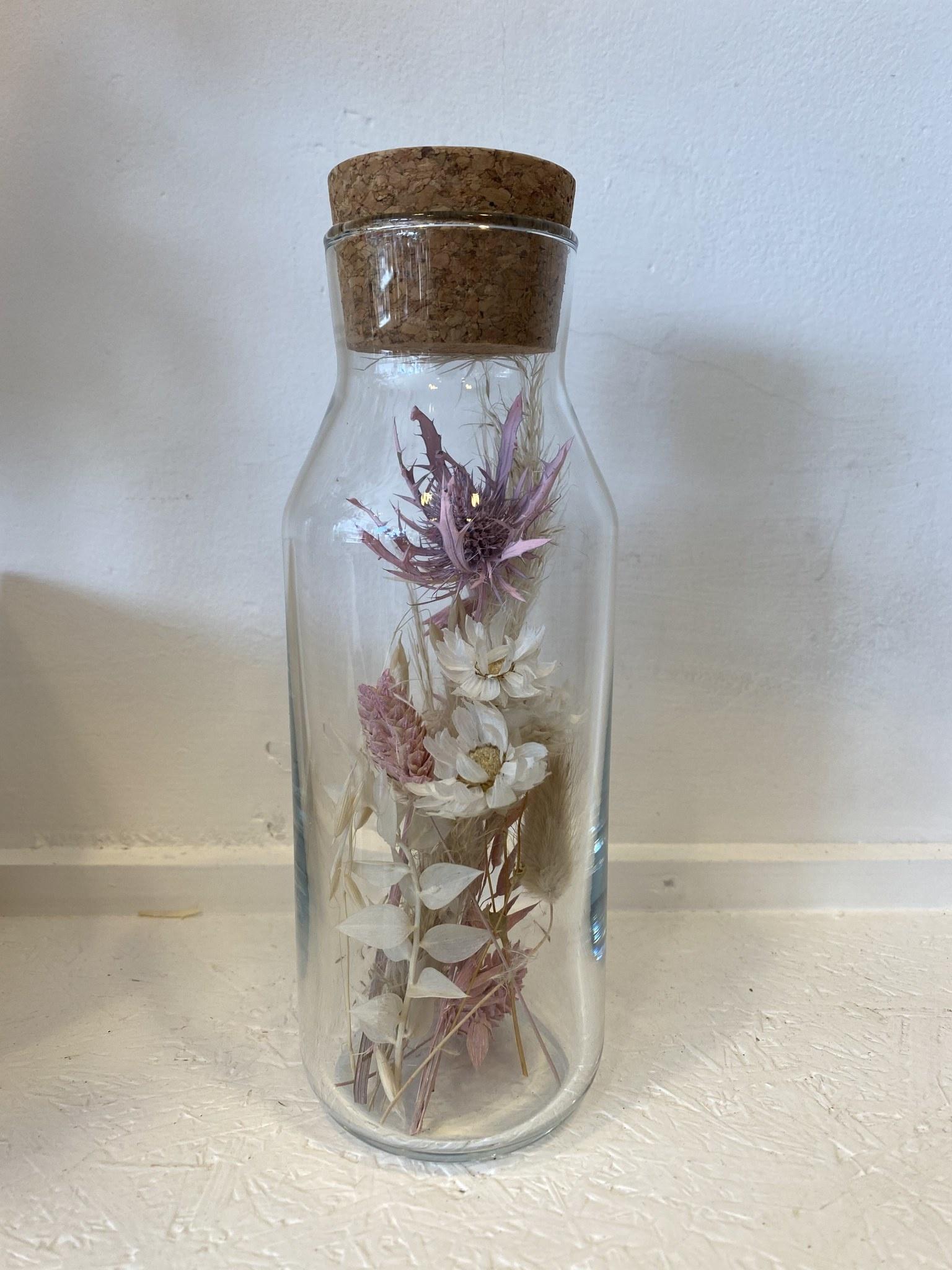 Bloemengeluk In Flesje Naturel met roze - Large-1