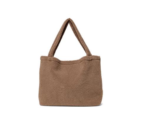 Brown chunky teddy mom-bag - Studio Noos-1