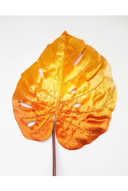 Decorative Velvet Leaf Rust - Orange