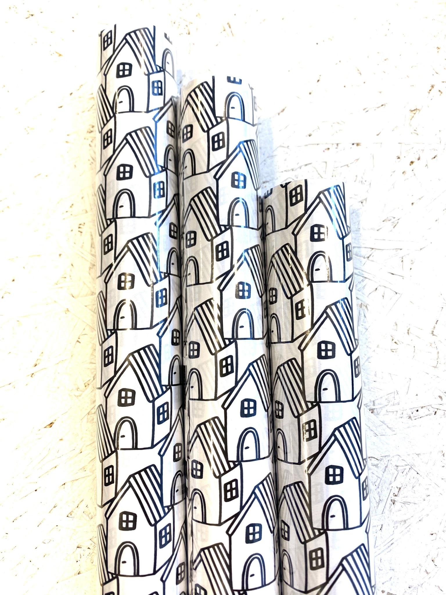 Inpakpapier Zwart-Wit Huis-1