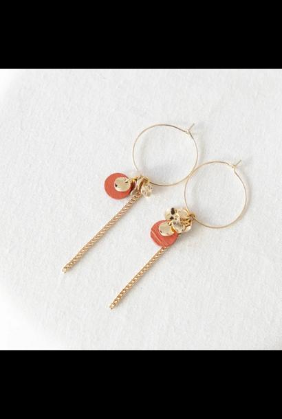 Earrings Pink - Golden Glow 09