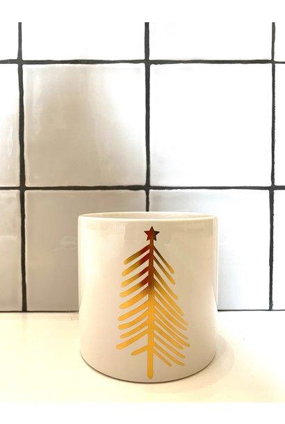 Bloempot Kerstboom Goud -Wit 1