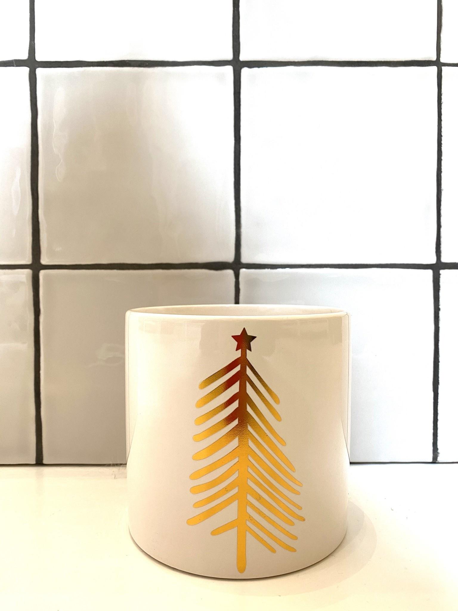 Bloempot Kerstboom Goud -Wit 1-1