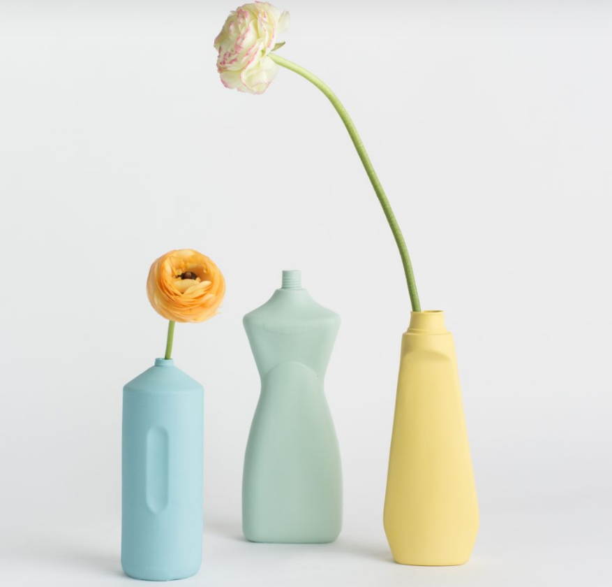 Porseleinen Flesvaas Lichtblauw #2 - Foekje Fleur-2