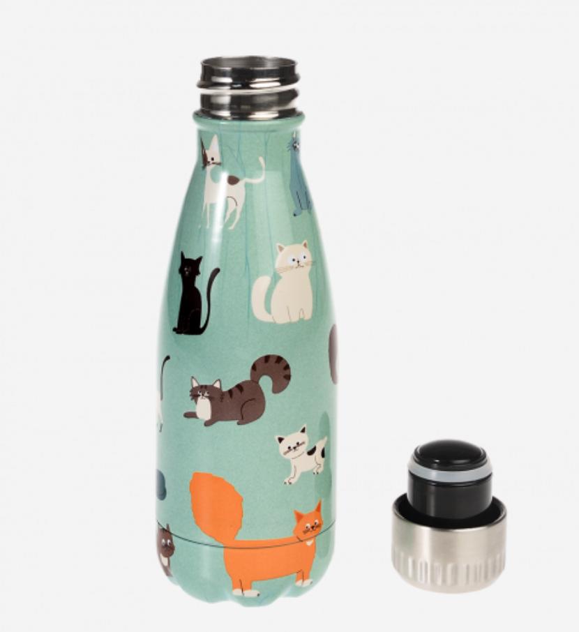 Katten roestvrijstalen drinkfles-1