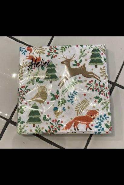 Servetten Kerst Dieren Wit