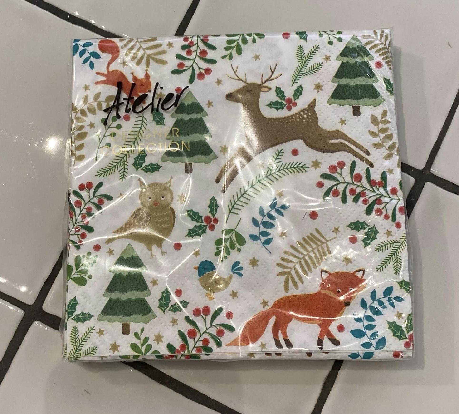 Servetten Kerst Dieren Wit-1