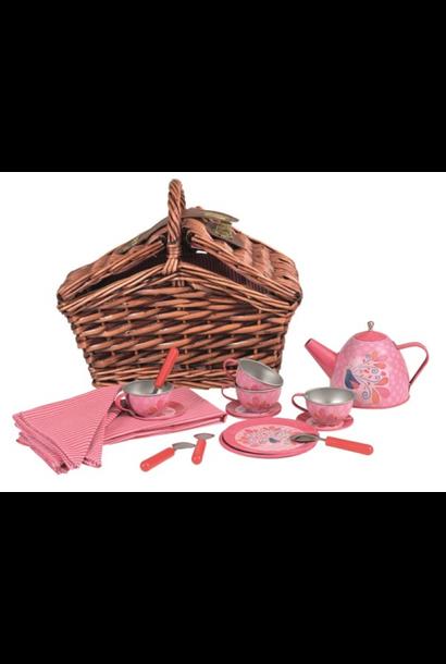 Tea set Peacock in wicker basket