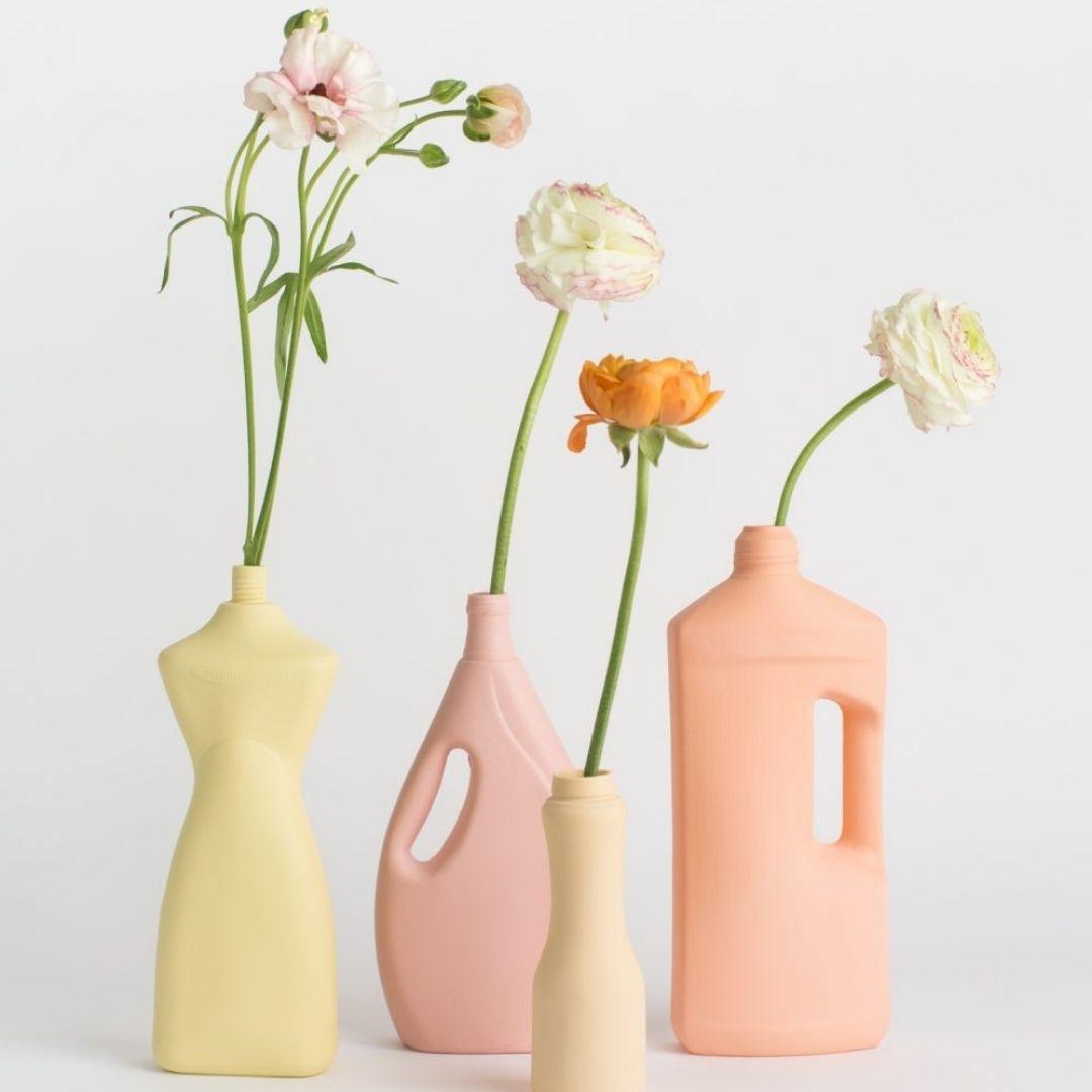 Porseleinen Flesvaas Fris Geel #8 - Foekje Fleur-3