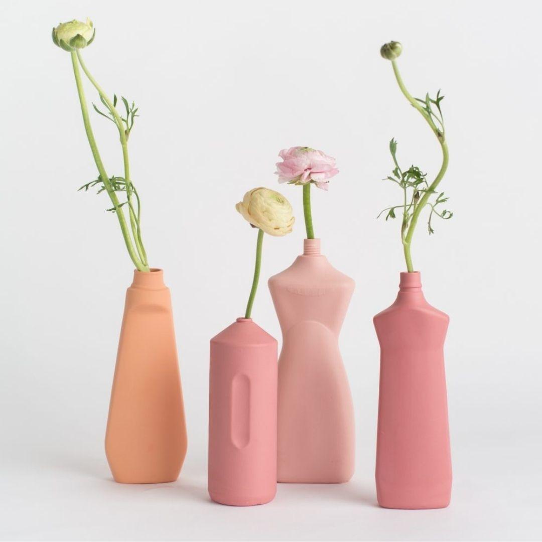 Porseleinen Flesvaas Roze #8 - Foekje Fleur-3