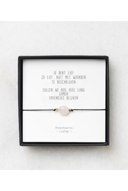 Rozenkwarts armbandje gedichtje 'Vriendschap' – thema liefde