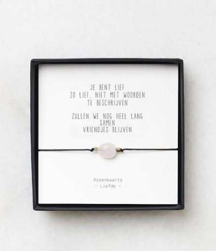 Rozenkwarts armbandjes met gedichtje – thema liefde - Gewoon Jip-1