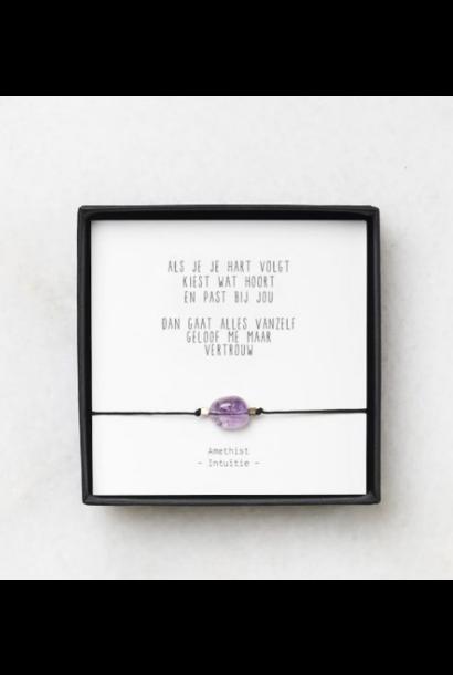 Amethist armbandje gedichtje 'Vertrouwen' – thema intuïtie