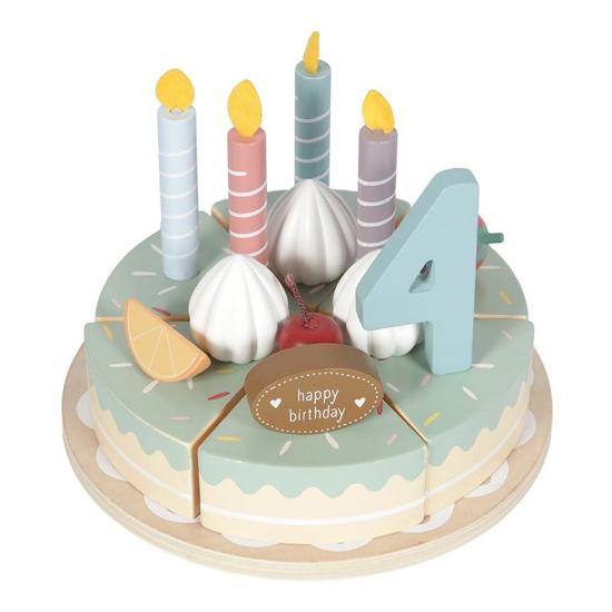 Houten verjaardagstaartje  26-delig - Little Dutch-1
