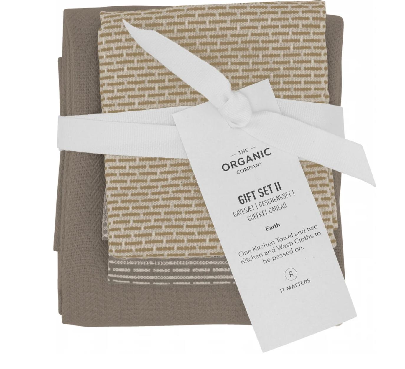 Set Handdoek & 2 Afwasdoekjes - Aardekleuren - The Organic Company-1