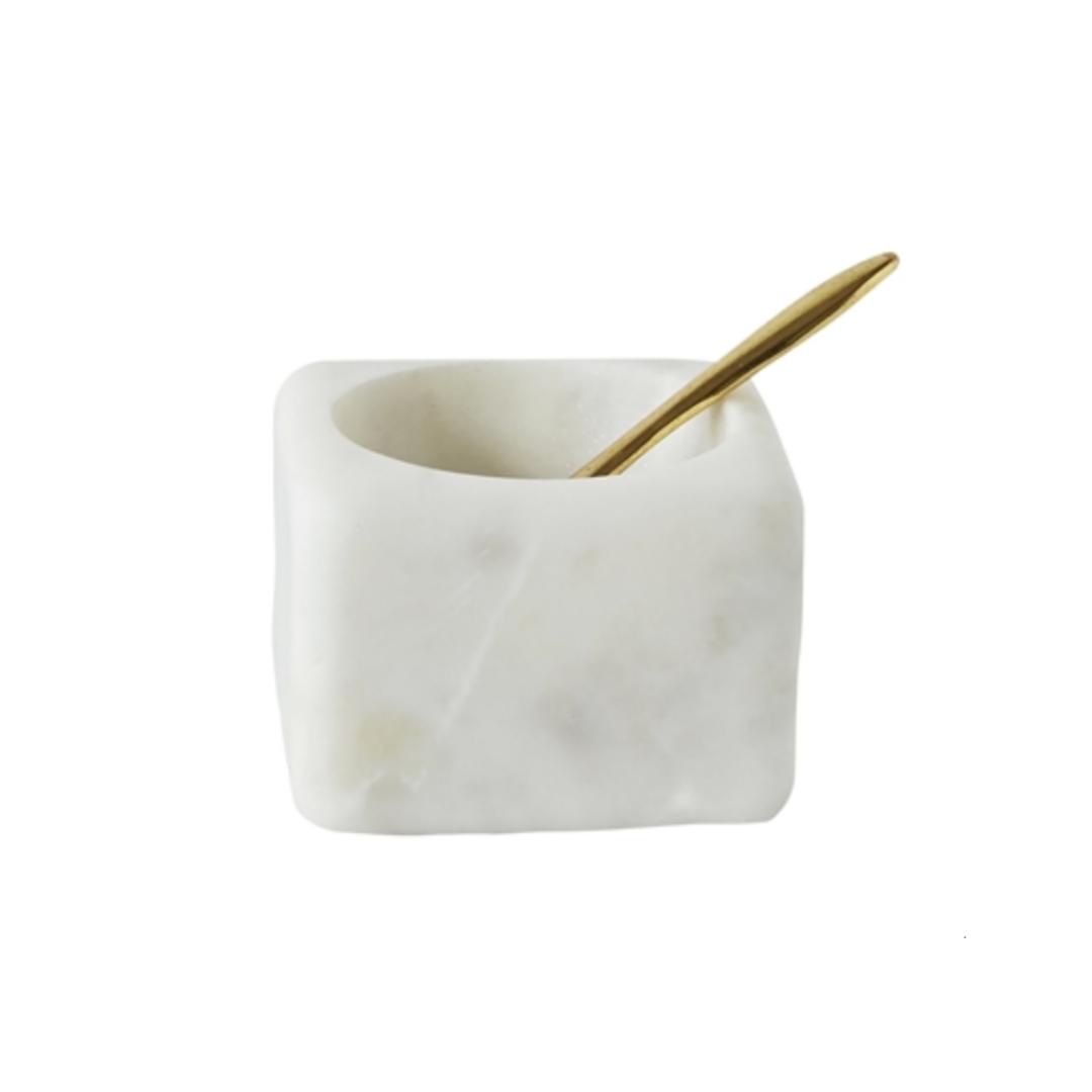 Marmeren Zoutpotje Met Lepel - Bloomingville-1