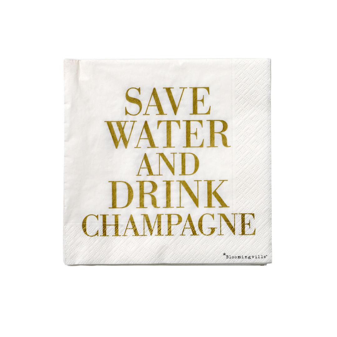 Servetten Save Water & Drink Champagne - Bloomingville-1