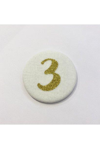 Cijferknop 3 Goud