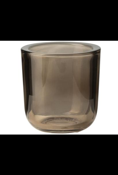 Glazen theelichthouder Bruin