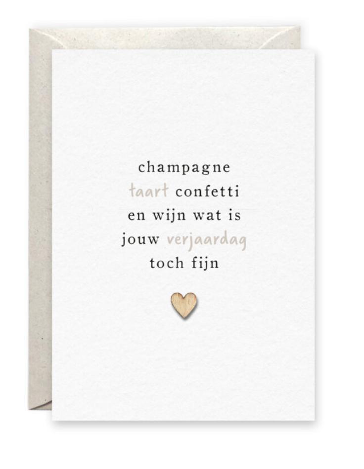 Kaartje 'Champagne' - Pinkpeach-1