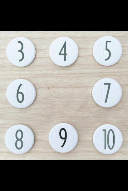 Set Cijferknopen nr 3 - 6 Olijfgroen
